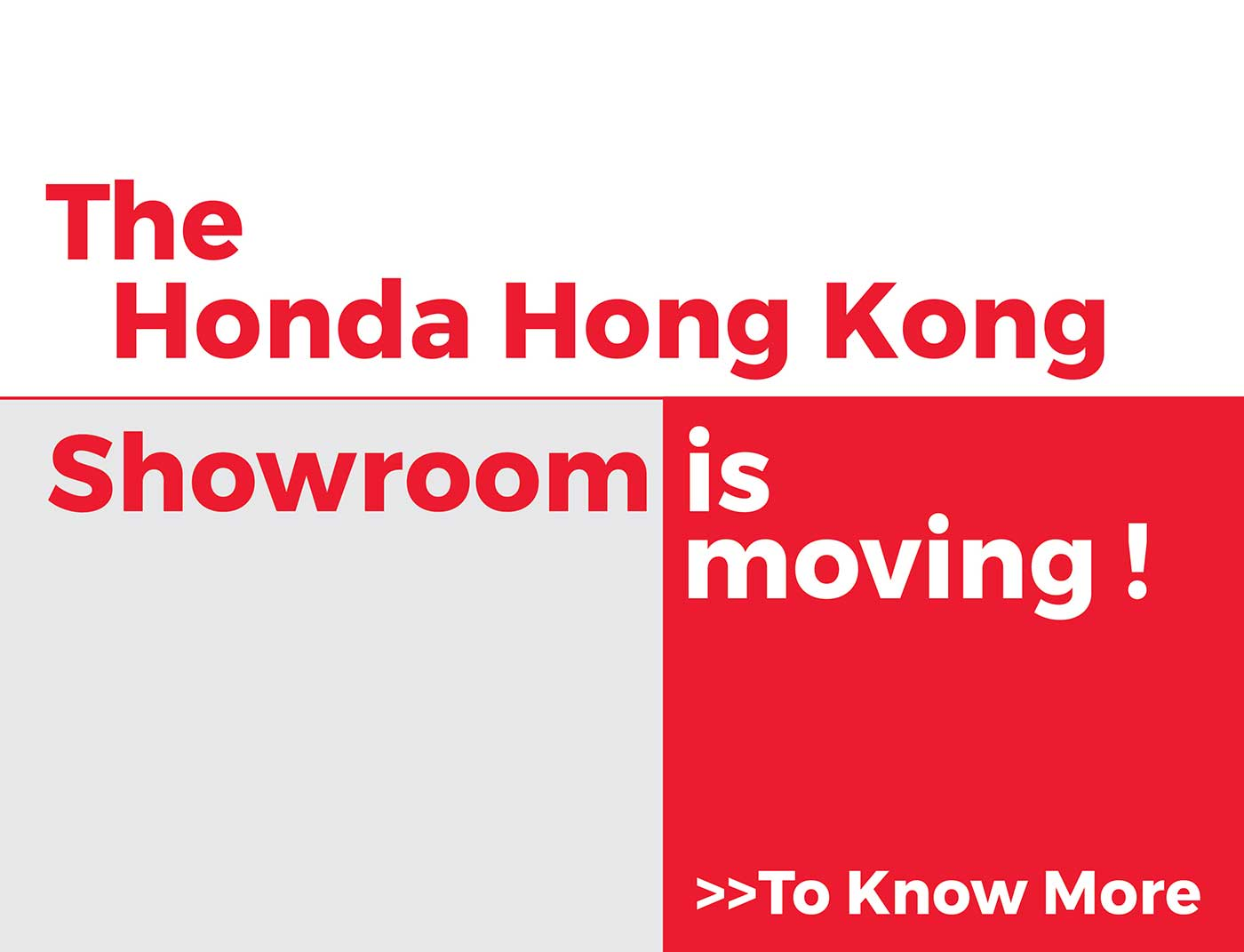 Honda Hong Kong Showroom Removal Notice